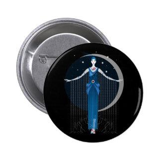 Fashion art deco stylish illustration pattern 6 cm round badge