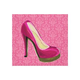 Fashion Art Pink High Heel Canvas
