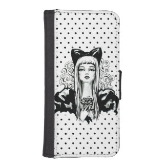 Fashion beautiful blond girl vintage illustration iPhone SE/5/5s wallet case