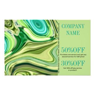 fashion beauty hair nail salon lime green swirls 14 cm x 21.5 cm flyer