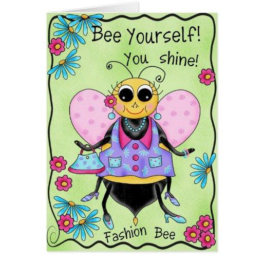 Fashion Bee Whimsy Honey Bee Cute Art Card