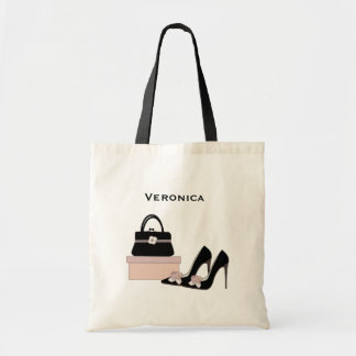 Fashion black heel shoe and purse birthday tote bag