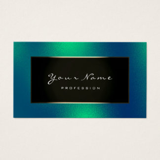 Fashion Blogger Champagne Gold Green Frozen Business Card