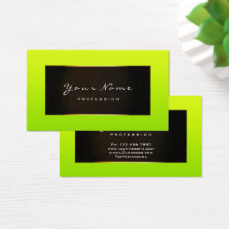 Fashion Blogger Framed Black Frame Limon Green Business Card