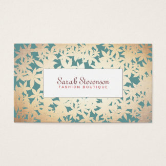 Fashion Boutique Gold and Teal Floral Pattern