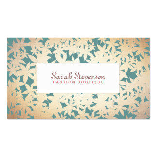 Fashion Boutique Gold and Teal Floral Pattern Business Card Template
