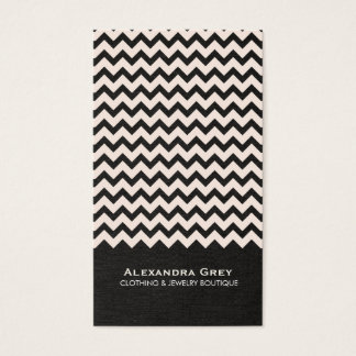 Fashion Boutique Zig Zag Black Linen Business Card
