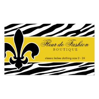 Fashion Business Card Fleur de lis zebra yellow