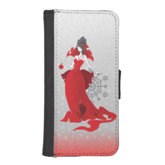 Fashion Christmas stylish red gray illustration iPhone SE/5/5s Wallet Case