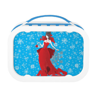 Fashion Christmas stylish red gray illustration Lunch Box