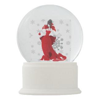 Fashion Christmas stylish red gray illustration Snow Globes