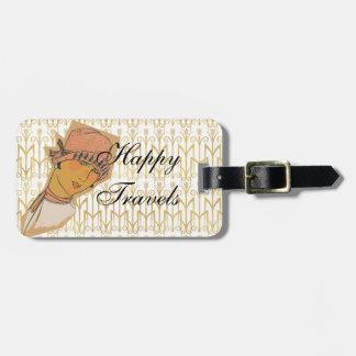 Fashion Cloche Hat Flapper Happy Travels Luggage Tag