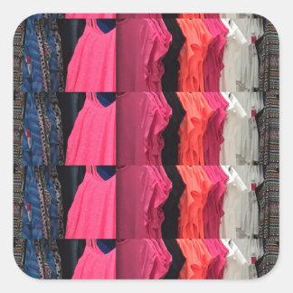 Fashion Colorful pattern print template add text Square Sticker