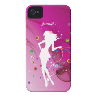 Fashion Dancing Girl with Pink Rhythm Background | iPhone 4 Cover