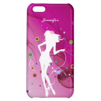 Fashion Dancing Girl with Pink Rhythm Background | Cover For iPhone 5C