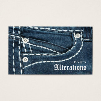 Fashion Denim Jeans Alterations Sewing Business Card