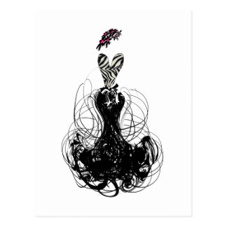Fashion diva - Black and White Postcard