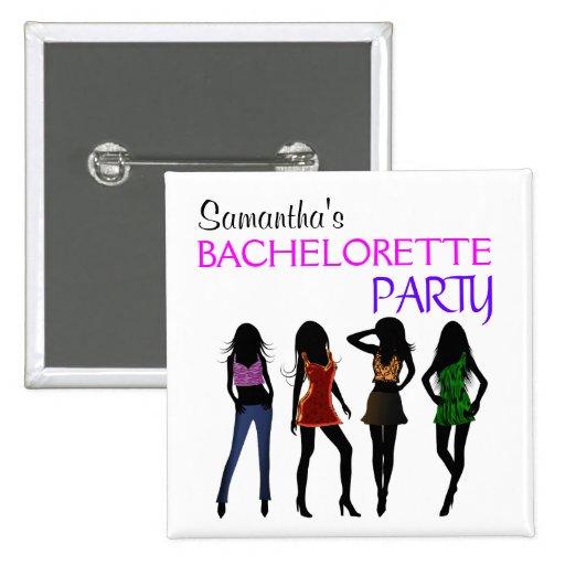 Fashion Divas Bachelorette Party Square Buttons Pins