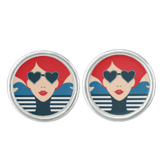 Fashion french stylish fashion chic illustration cuff links