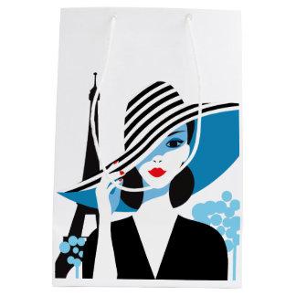 Fashion french stylish fashion chic illustration medium gift bag
