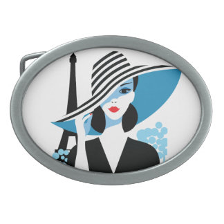 Fashion french stylish fashion chic illustration oval belt buckle