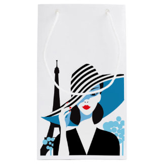 Fashion french stylish fashion chic illustration small gift bag