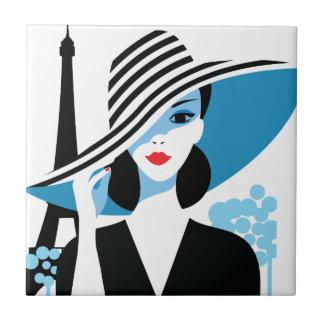 Fashion french stylish fashion chic illustration small square tile