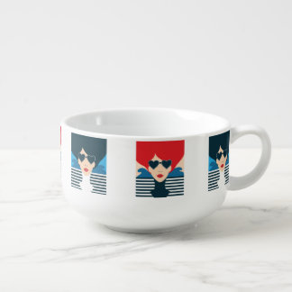 Fashion french stylish fashion chic illustration soup mug