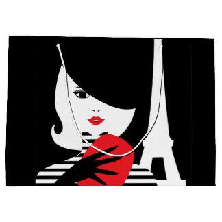 Fashion french stylish fashion illustration large gift bag