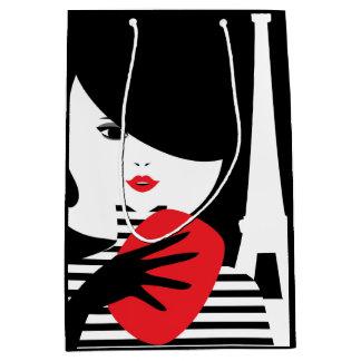 Fashion french stylish fashion illustration medium gift bag