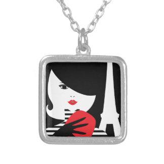 Fashion french stylish fashion illustration silver plated necklace