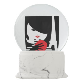 Fashion french stylish fashion illustration snow globe