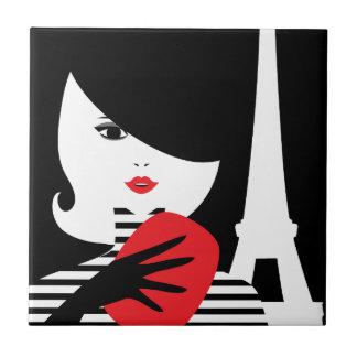 Fashion french stylish fashion illustration tile