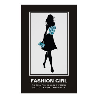 Fashion girl blue teal leopard print poster