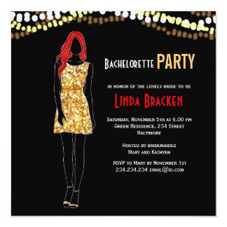 Fashion Girl Dress Lights Bachelorette Invite
