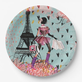 Fashion Girl in Paris Paper Plate