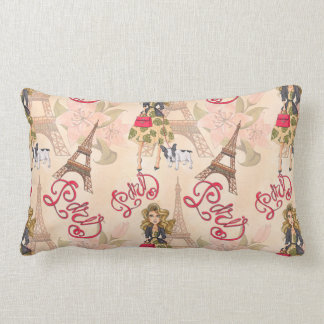 Fashion Girl in Paris Pattern Lumbar Cushion