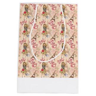 Fashion Girl in Paris Pattern Medium Gift Bag