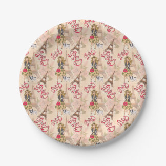 Fashion Girl in Paris Pattern Paper Plate
