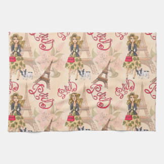 Fashion Girl in Paris Pattern Tea Towel