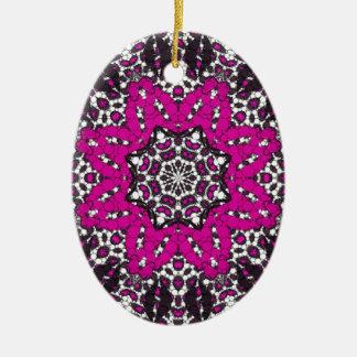 Fashion Girl Lips Cheetah Ceramic Oval Ornament