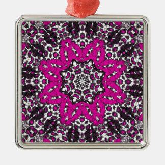 Fashion Girl Lips Cheetah Silver-Colored Square Ornament