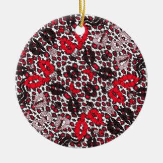 Fashion Girl Lips Cheetah Round Ceramic Ornament