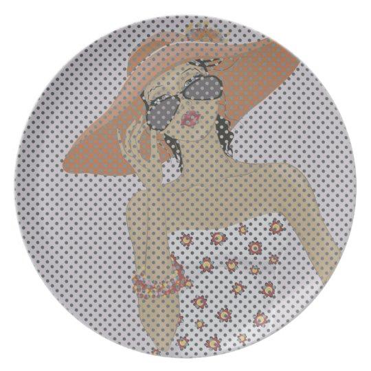 Fashion girl Melamine Plate