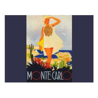 Fashion Girl Monte Carlo Beach Travel Postcard