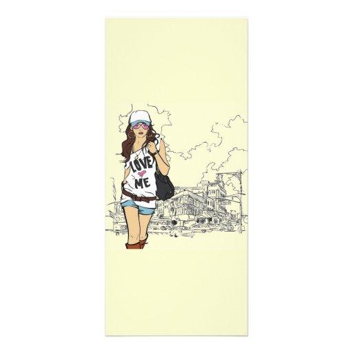 Fashion Girl Vector Illustration Rack Card