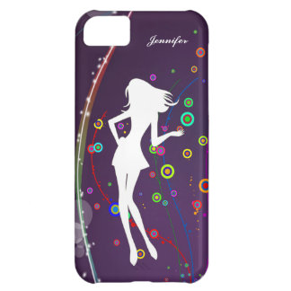 Fashion Girl with Purple Bubble Background | iPhone 5C Case