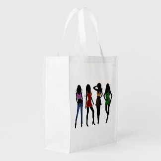 Fashion Girls Silhouette Trendy Reusable Bags