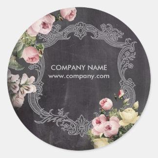 fashion girly vintage flowers chalkboard round sticker