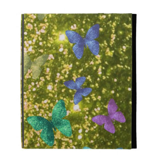 Fashion glittering golden with coloful butterlies. iPad case